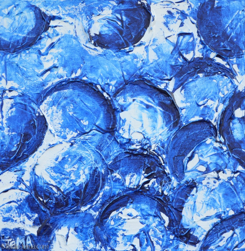 """Bubbles I"" Blue Contemporary Abstract Original Painting on Textured Canvas by Jema."