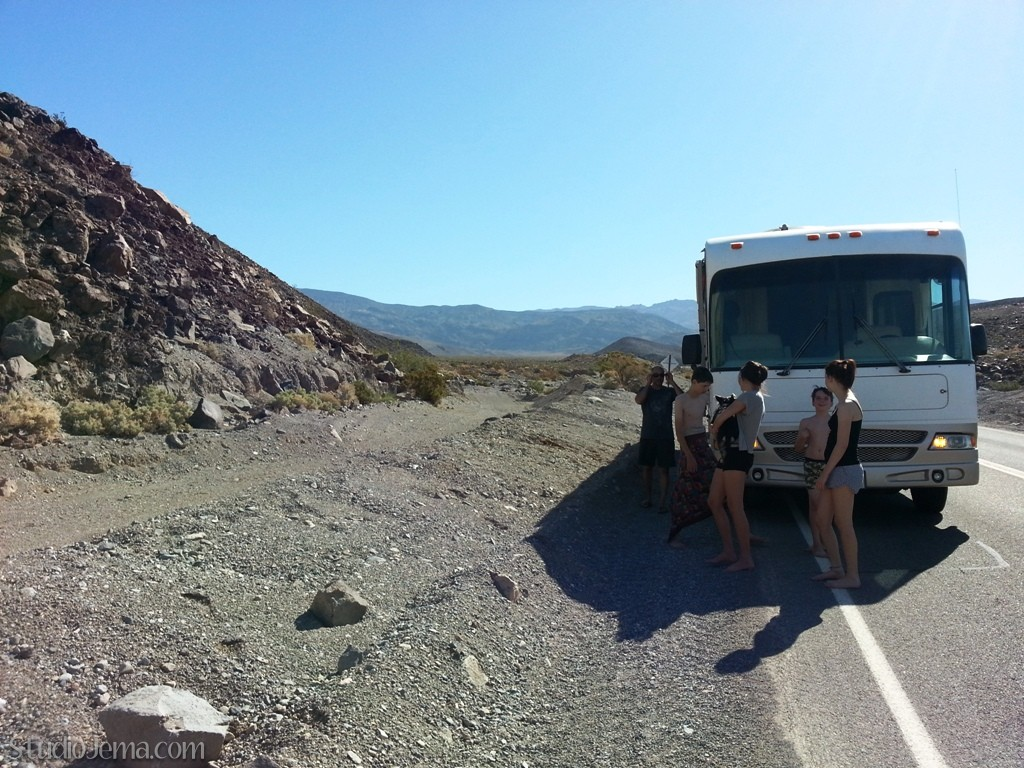 Kids on the side of the road after RV brake failure on California mountain road.