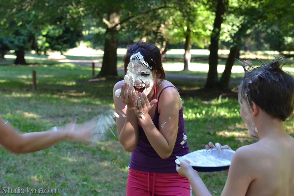 Girls pie in face