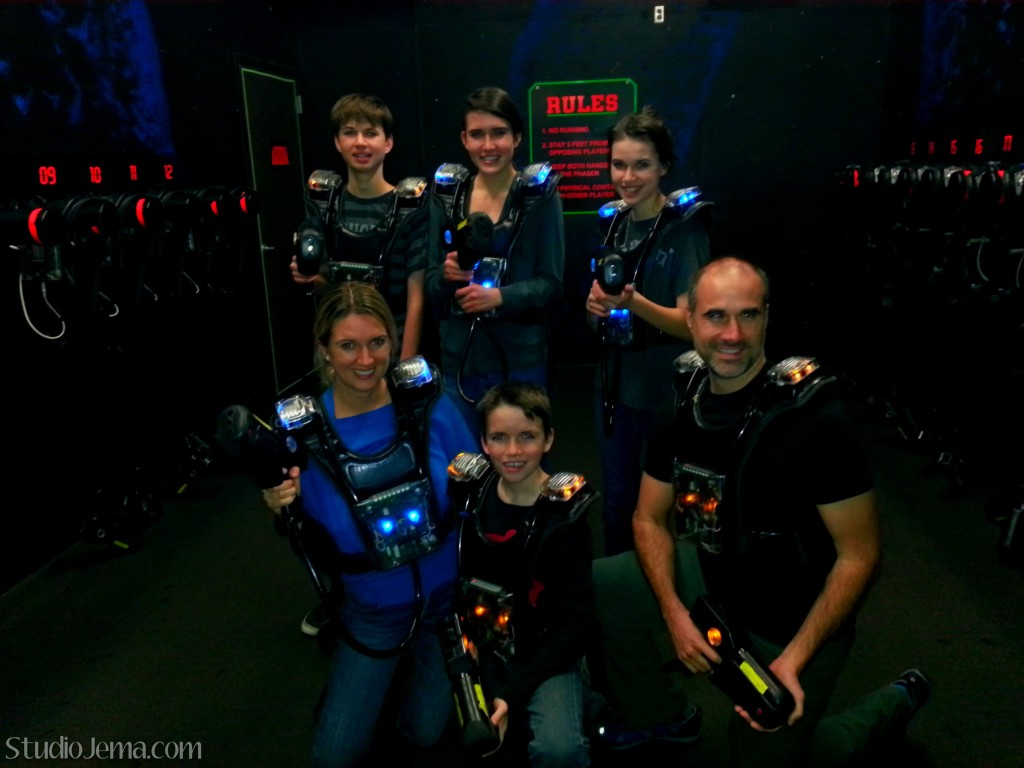 Anderson family playing laser tag at Main Event in Grapevine, Texas.