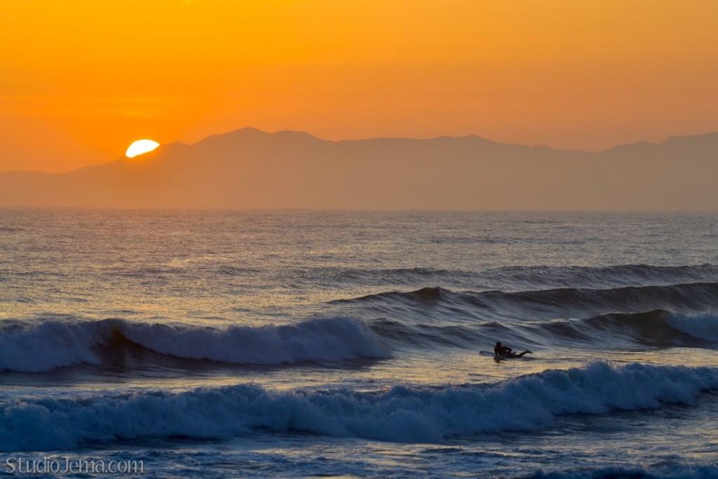 Sunset California Surfer at Faria Beach Park